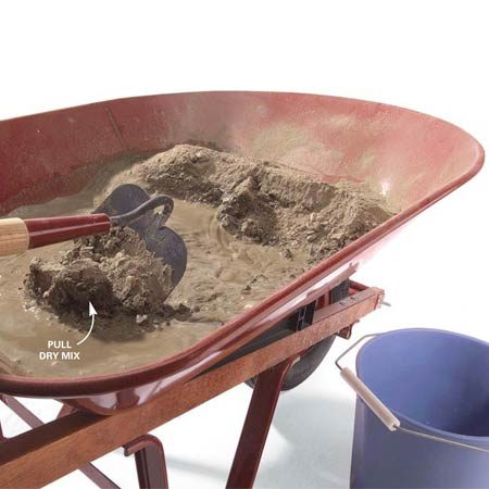 <b>Photo 3: Gradually wet the mix</b></br> Pull a small amount of the dry mix into the water with a hoe and mix it completely. Continue pulling and mixing until all of the powder is wetted and the mix is piled at your end of the wheelbarrow. Continue mixing by going to the other end of the wheelbarrow and pulling the mix back toward you.