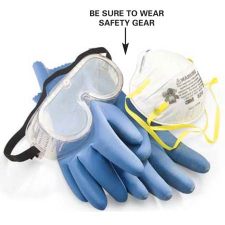 <b>Safety gear</b></br> Protect your skin and eyes! The cement in concrete is caustic and can cause burns if it gets on your skin.