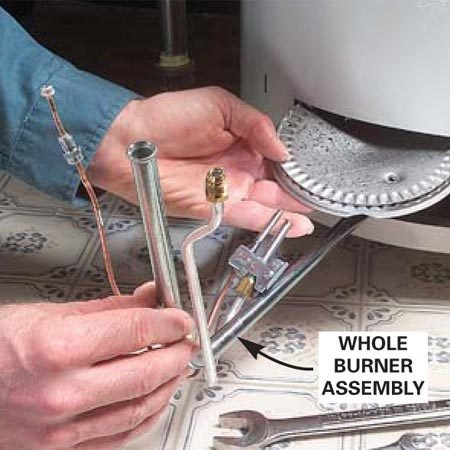 <b>Burner assembly</b></br> Remove the burner assembly and detach the thermocouple.