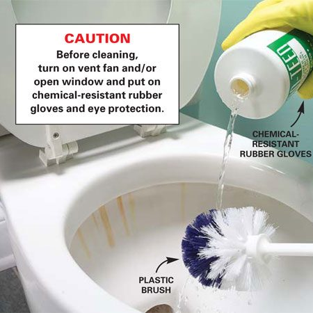 <b>Photo 2: Pour in the cleaner </b><br/>Pour an aggressive cleaner (one containing hydrochloric acid; see text below) on a plastic toilet brush and spread it over the entire bowl surface.