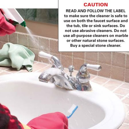 <b>Spray a cleaner on the faucet</b></br> Soak the entire faucet surface from base to tip with an all-purpose bathroom cleaner, or use a lime-removing product if the buildup is extremely thick and crusty.