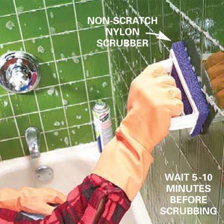<b>Scrub with a nylon pad</b></br> Remove remaining visible scum and deposits by applying light pressure with a non-scratch nylon scrubber. Reapply product to difficult areas and scrub until clean.