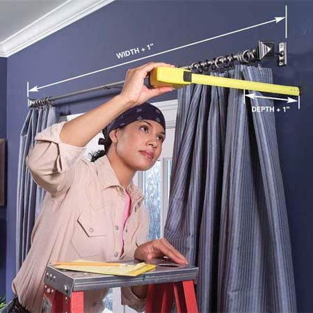 <b>Photo 1: Measure carefully</b></br> Measure the outside width and depth of curtains, curtain rods or shades that you want to cover and their distances from the wall. Add 1 in. to determine the inside box dimensions.