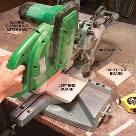 <b>Photo 2: Cut the boards</b></br> Cut 45 degree bevels on both ends of the front board and on one end of each end board. Then reset the saw to 90 degrees and cut the end boards to length.