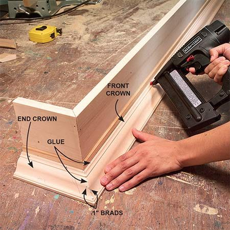 <b>Photo 8: Finish installing the crown molding</b></br> Test-fit, mark and cut the front piece of crown molding to length. Glue and nail the miters together, then nail the molding to the cornice box. Cut and install the last end piece of crown molding.