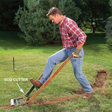 <b>Photo 2:  Remove the sod</b></br> Cut away the sod with a sod cutter. Follow the perimeter and then cut away the inside of the circle. Leave the pipe in place.