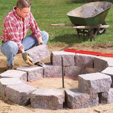 <b>Photo 6: Finish setting the stones</b></br> Set the second row of stones on top of the first. Straddle the joints of the first row.