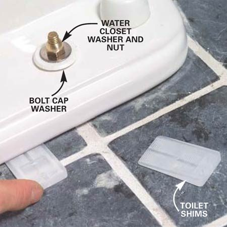 <b>Photo 13: Install shims</b></br> Slip the bolt cap washers over the bolts, then snug down the water closet washers and nuts with a wrench. Be careful not to overtighten the nuts, especially over gaps between the toilet and the floor. Slip toilet shims under any toilet edge gaps and cut off the excess length. Some shims are pretty tough. If a utility knife won't cut through the plastic, you may have to chop them off with a sharp wood chisel.