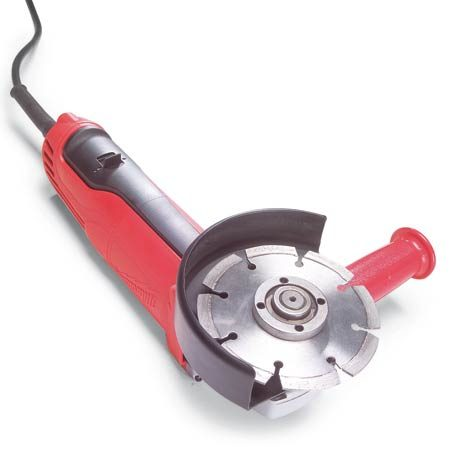 <b>Angle grinder</b></br> Angle grinders use a wide variety of cutting and grinding wheels, like the diamond wheel shown here.
