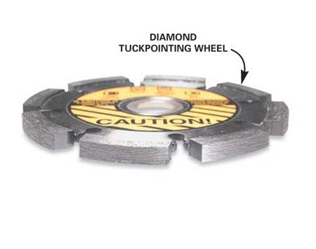 <b>Diamond tuck pointing wheel</b></br> Clean out old mortar joints with a tuckpointing wheel.