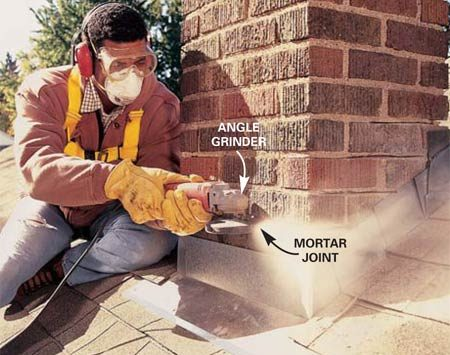 <b>Photo 8: Grind mortar</b></br> Grind out old, loose mortar with an angle grinder and diamond tuckpointing wheel. Make two or three 1/2-in. deep passes to completely clear the joint. Stay about 1/8 in. from the brick to avoid damaging it.