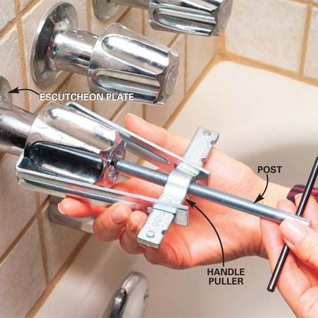 <b>Photo 3: Pop loose the handle</b></br> Turn the handle screw about halfway back into the stem. Position the handle puller's post against the screwhead and press the arms together behind the handle. Turn the post clockwise until the handle pops loose. Remove the handle screw and handle. Then pull off or unscrew the escutcheon plate.
