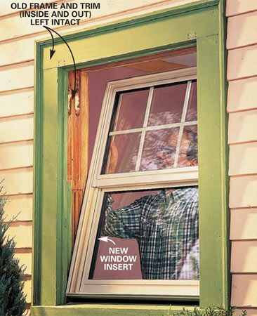 <b>Option 1</b></br> Wood or vinyl window inserts cost about the same as complete new window units but are easy to install because you leave the old frame and trim intact.