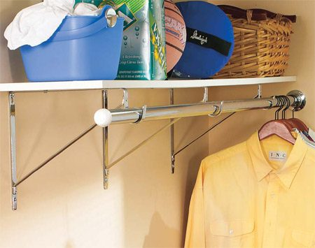 <b>Closet rod and shelf</b></br> You can get these great-looking chrome brackets and rod at home centers or on-line.