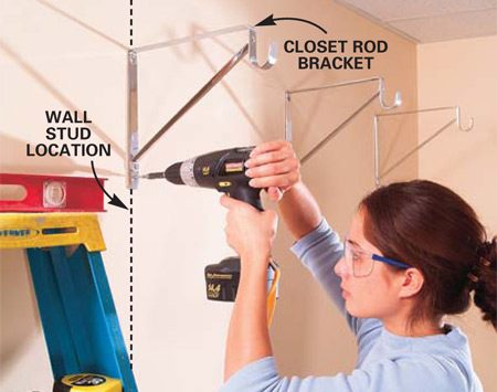 <b>Photo 1: Fasten the brackets to studs</b></br> Draw a level line about 78 in. above the floor and locate the studs behind the drywall. Fasten at least two of your closet rod brackets into wall studs (4 ft. apart) and then center the middle bracket with two 2-in. long screws into wall anchors.