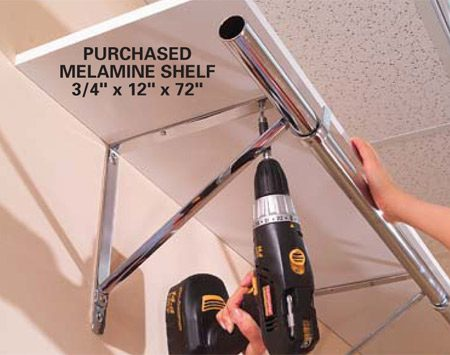 <b>Photo 2: Screw the shelf to the brackets</b></br> Fasten your 12-in.-deep Melamine shelf onto the tops of the brackets with 1/2-in. screws. Next, insert your closet rod, drill 1/8-in. holes into the rod, and secure it to the brackets with No. 6 x 1/2-in. sheet metal screws.