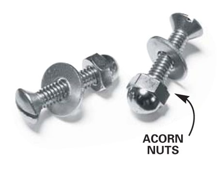 <b>Stainless steel acorn nuts and bolts</b></br> Acorn nuts cover sharp bolt ends and give the project a more finished appearance.