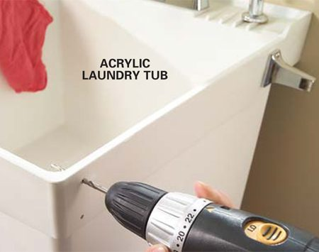 <b>Photo 2: Attach the ends</b></br> Drill clearance holes at your marks and fasten the towel bar ends to the sink with bolts, washers and acorn nuts.