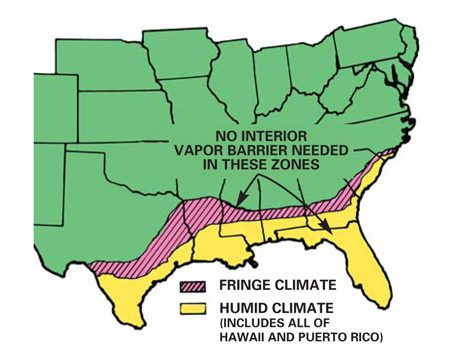 <b>Cold weather map</b></br> Interior vapor barriers are not needed in humid climates.
