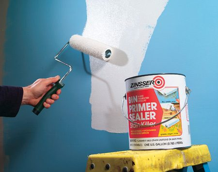 <b>Roll on vapor barrier</b></br> Roll on a primer that acts as a vapor barrier on the interior bathroom walls.