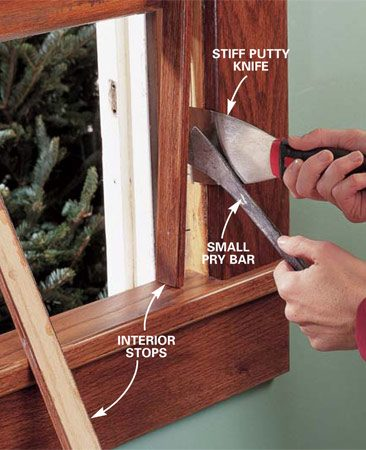 <b>Photo 1: Gently pry off the interior stops</b><br/>Pry against a stiff putty knife to protect the wood. To minimize paint chipping on painted windows, score the joint between the window frame and stop with a utility knife before prying off the stop. Pull the nails through the backside of the stop with a nail nipper or pliers. Complete the window prep by following Photos 2 and 3.