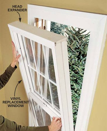 <b>Photo 3: Place the window</b><br/>Rest the bottom of the replacement window on the sill and tilt the window into place against the blind stop. If your window includes a head expander, position it over the top of the jamb first. Press the window tight against the caulked blind stop.