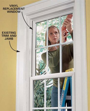 <b>Photo 9: Caulk</b><br/>Caulk the joint between the new window and the blind stop and between the windowsill and filler strip.