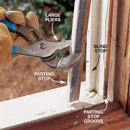 <b>Photo 3: Remove the parting stop</b><br/>Pull or pry the parting stop from the groove in the window frame and discard it. Remove the top sash, cut the sash cords and take out the sash weight pulleys. Remove the sash weight cover and weights. Stuff the cavity with fiberglass insulation.