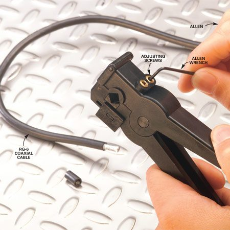 <b>Photo 1: Adjust cutter depth</b></br> Test cutter depth on a cable scrap. Adjust the two cutting blades one at a time to fine-tune the depth of the cut. Turn the adjusting screws clockwise with the Allen wrench (included with the tool) to make a deeper cut.