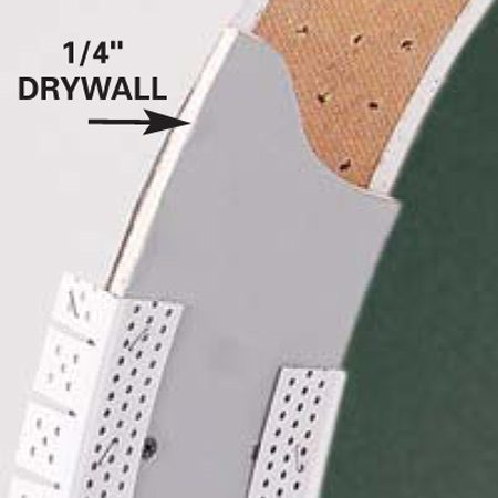 <b>Fit drywall into the curve</b></br> To reduce time spent soaking a drywall strip into a curve, buy 1/4-in. drywall that's designed to bend.