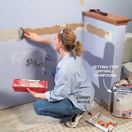 <b>Photo 8: Patch the wall</b><br/>Patch any wall damage with successive coats of drywall compound. Use a lightweight setting-type compound to speed up the process so you'll be able to sand and paint earlier. After the patch is dry, sand it smooth and even with the adjoining wall surface.