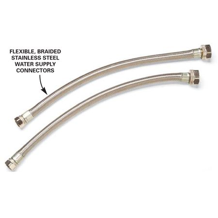 <b>Water supply connectors</b><br/>Braided flexible supply hoses make the connections easier and are less likely to leak over time.
