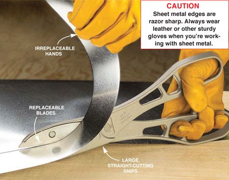 <b>Photo 4: Large tin snips</b></br> Long, straight cuts are easier to make with large tin snips. Open the cutters as wide as you can at the start of each stroke, and make long, smooth strokes. Lift the cutoff strip and roll it to the side to prevent it from binding on the tin snips' handle.