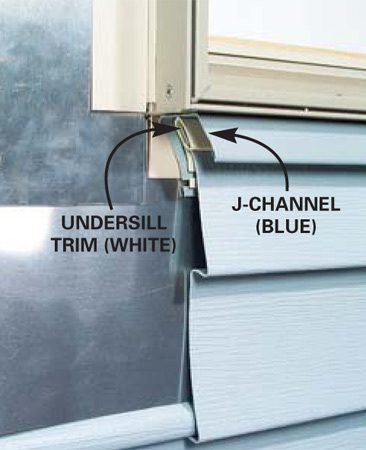 J-channel and undersill installed under a window.