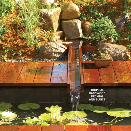 <b>Running water</b></br> This project features exotic decking and a gentle water fall.