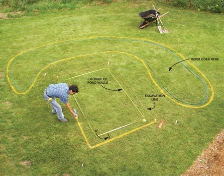 <b>Photo 1: Mark the deck and pond location</b></br> Mark the outside perimeter of the pond walls and then stake the corners and string lines about 6 in. outside the pond walls. Use a garden hose to mark the berm shape and location, then mark beneath the string and outside the hose with landscaping paint.