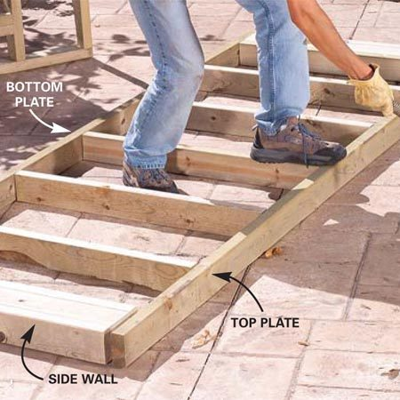 <b>Photo 5: Build the walls</b></br> Cut the 2x4 studs and plates to length (follow Figure A for dimensions). Assemble the pond walls as shown by nailing the studs to the plates with two galvanized 16d nails at each end.