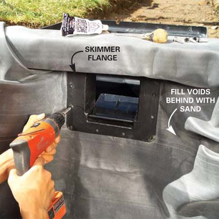 <b>Skimmer detail</b></br> Caulk and screw the skimmer flange to the basket.