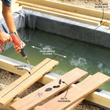 <b>Photo 17: Install the decking</b></br> Center the first board on the long side and fasten it. Center and cut a 5-1/2 in. wide notch on the biofilter-side pond ledgers and grade beam ledgers even with the pond lip. Starting on the side opposite the biofilter, center and fasten the middle deck board. Install the deck boards in both directions until they're about 4 to 5 in. from the ends of the pond. On the biofilter side, start the decking on both sides of the slot.