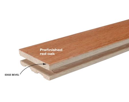 <b>Prefinished oak flooring</b></br> Prefinished strips offer more precise milling and the slight edge bevels allow nailing without sanding. The strips have a tough, factory-applied finish in a limited choice of stains and species, mostly oak and maple. Cost: $4 to $6 per sq. ft. for flooring (oak); $8 to $12 professionally installed.