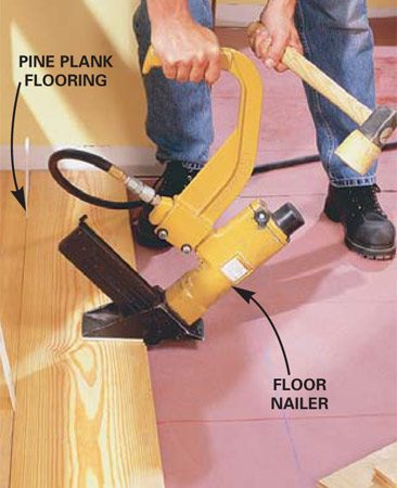 <b>Using a floor nailer </b></br> Unfinished flooring must be sanded. You'll need to rent a flooring nailer and a sander.