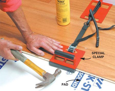 <b>Edge-glue type floating floor installation </b></br> Lay a pad and snap or glue together floating floors. Clamps hold glued edges tight until they dry.