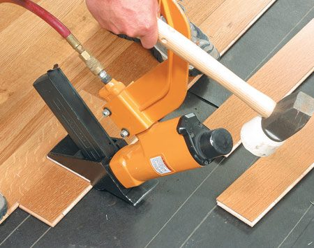 <b>Nail down laminate floor installation </b></br>  Rent a special flooring stapler designed for the flooring thickness.