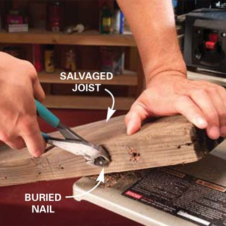 <b>Remove metal and grit before planing</b></br> Dig out all remnants of nails, screws and staples before planing old lumber. One encounter with a nail is all it takes to put a good-sized nick in a set of knives.