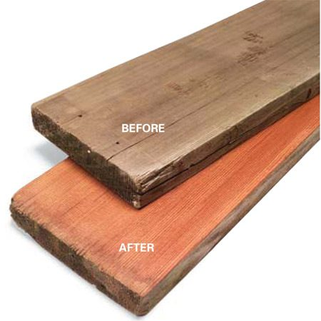 <b>Before and after</b></br> This dingy, scarred piece of decking retrieved from a dumpster became valuable vertical grain redwood after a few passes through the planer.