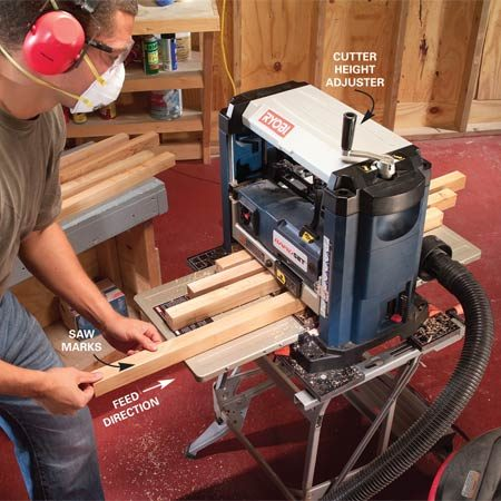 <b>Plane shallow passes </b></br> Clean salvaged lumber with multiple shallow passes. Remove between 1/32 and 1/16 in. with each pass until you get down to fresh wood or reach your desired thickness.