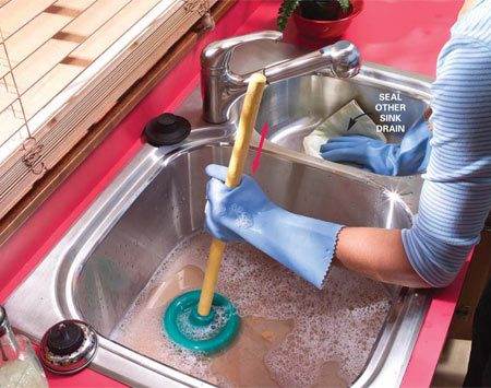 clogged drain kitchen sink how to clear clogged sink drains the family handyman 5488