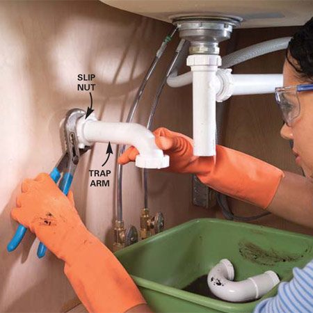 <b>Photo 5: Remove the trap arm</b></br> Loosen the slip nut and slide the trap arm from the drain line stub-out. You will likely need pliers to remove the nut.