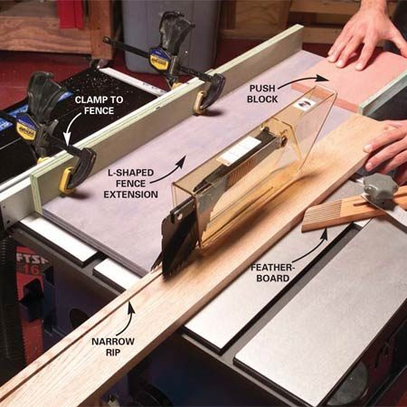 <b>Photo 1: Rip the narrow strips</b></br> Rip narrow strips for the cove, base and casing using the setup shown. Leave blade guard in place and use the push block to complete the cut.