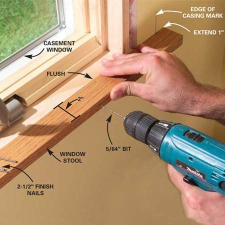 <b>Photo 3: Install the window stool and apron</b></br> Position and predrill the window stool. Then add glue and nail it to the window frame. Snug the 1x4 apron up under to the stool and nail it in place.